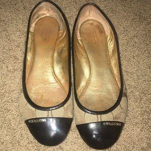 Coach Ballet Flats- coach brown pattern